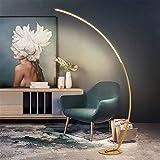 HKLY Lampada da Terra ad Arco Design, LED Piantana Dimmerabile su 3 Livelli Moderno Lampada a Stelo Lampada da Pavimento in Alluminio per Soggiorno Camera da Letto Ufficio 25W,D'oro