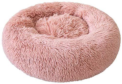 Buker Cama para perros, gatos y mascotas, 50 cm, con forma de donut para gatos y perros, peluche de pelo sintético con pelusas, cama con cojín para mascotas para gatos y perros medianos