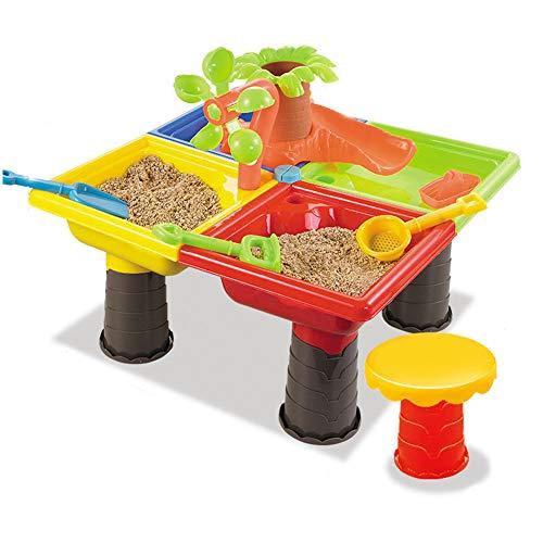 Kinder Spieltisch Sand and Water - 2-in-1-Gartentisch aus Kunststoff für Kleinkinder mit Tischen und Zubehör - Viel Spaß am Strand oder im Garten,B2