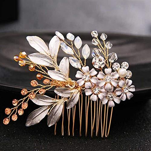 WALNUTA Gold Kristall Blume Haar Kämmt Schmuck Braut Tiaras Kopfschmuck Haarschmuck Frauen Hochzeit Haarstück Zubehör (Color : A)