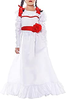 abushut Annabelle Cosplay Halloween Costume Horror White Dress Role Play Fancy Dress