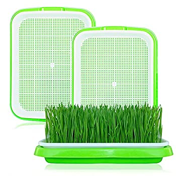 3 Packs Seed Sprouter Tray Lainrrew Seed Germination Tray Nursery Tray Wheatgrass Seeds Grower & Storage Trays Sprouting Container Kit for Garden Home Kitchen