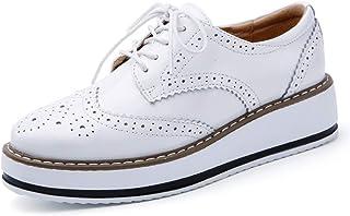 de985b24 Mujeres Plataforma Zapatos Mujer Cuero Pisos Encaje hasta Calzado Mujer  Plana Oxford Zapatos para