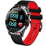 HAOYF Fitness Tracker Uhr Mit Herzfrequenz Körpertemperatur Monitor, Schrittzähler Smartwatch Mit Schlafschritt Kalorienmonitor, IP67 Wasserdichter Aktivitäts Tracker Für Frauen Männer,Rot