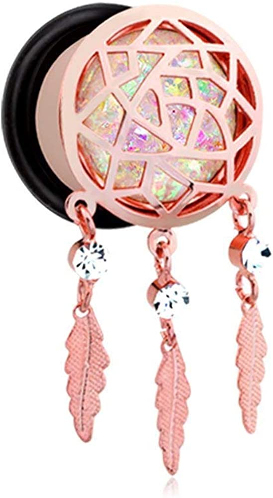 Covet Jewelry Rose Gold Opal Sparkle Dreamcatcher Single Flared Ear Gauge Plug
