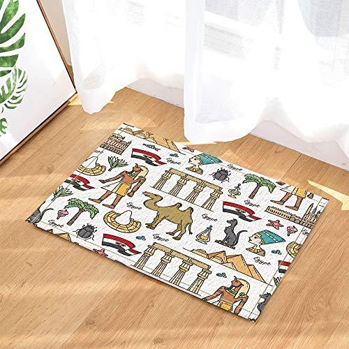 gohebe ?gyptische Reisen Decor Hand drawn Cartoon Pyramide und Symbole der ?gypten Bad Teppiche rutschhemmend Boden Innen vorne Kinder Badematte 39,9x59,9cm Badezimmer Zubehr