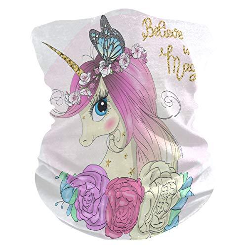 TropicalLife - Pañuelo para la cara, diseño de unicornio y flores, diseño de mariposa, para cara, bandanas y pasamontañas