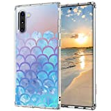 MOSNOVO Galaxy Note 10 Case, Mermaid Scale Printed Pattern Clear Design Transparent Plastic Hard Back Case with TPU Bumper Protective Case Cover for Samsung Galaxy Note 10