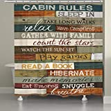 JackieTD Rustic Cabin Rules Shower Curtain with Free Hooks Home...