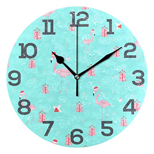 Custom Wall Clock Êý×Ö Flamingo Pink Gift Blue Color Home Decor Round Acrylic Clock Large Numbers Silent Non-Ticking Battery Operated Decorative Room Painting Clock 9.45in