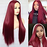 BLUPLE Burgundy Red Synthetic Lace Front Wigs Long Silk Straight Wine Red Color Wig with Free Part High Temperature Fiber for Women Party Show (22 inches, Straight,Burgundy Red)