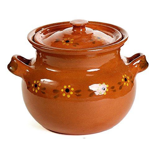 Ancient Cookware Mexican Traditional Clay Bean Pot, Terracotta