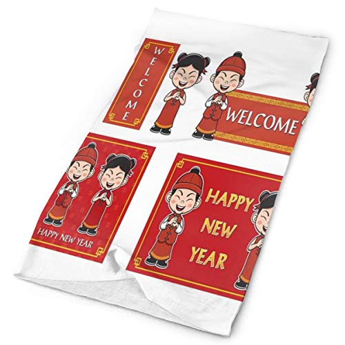 Headwear Headband Head Scarf Wrap Sweatband,Happy Wishes and Greeting with Little Boys Girls Joyful Lunar Festival,Sport Headscarves for Men Women