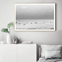IGZAKER Coastal Surfer Beach Photography Wall Art Canvas Painting Black White Posters and Prints Sea Landscape Wall Pictures Home Decor 50x70 cm No Frame