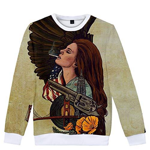 CTOOO Mit Lana Del Rey 3D Digital Druck Herren Damen Pullover, Rundhals Trend Sweatshirt, Longsleeve Jacke Loose Fit XXS-XXXXL