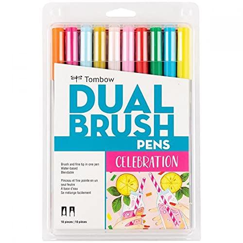 Tombow Dual Brush Pen Art Markers (10-Pack, Celebration)