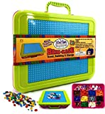 Matty's Toy Stop Brik-Kase 2.0 Travel, Building, Storage & Organizer Container Case with Building Plate Lid (Holds Approx 2000pcs) - Compatible with All Major Brands (Pink, Lime & Aqua) New Improved