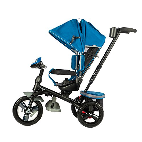 Evezo 302A 4-in-1 Parent Push Tricycle for Kids, Stroller Trike Convertible, Swivel Seat, Reclining Seat, 5-Point Safety Harness, Full Canopy, LED Headlight, Storage Bin (Ocean Blue)