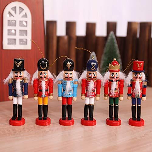 ZUEN Weihnachtsschmuck Nussknacker Marionette 4 Personen Gruppe 6 Personen Kombination Handgefertigte Holz Handwerk Christbaumschmuck,A