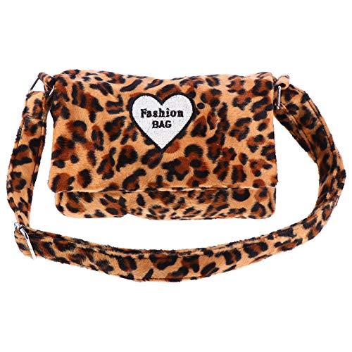 VALICLUD Leopard Print Crossbody Messenger Bag for Women Plush Clutch Tote Cheetah...