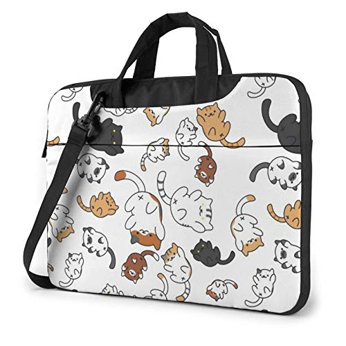 Laptop Case, Cute Cat Print Laptop Shoulder Bags Multi-Functional Notebook Sleeve,13-14-15.6 Inch