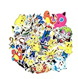 ZJJHX Etiqueta engomada de Pokemon Pikachu para Las Etiquetas engomadas del monopatín Etiquetas engomadas de la Historieta de Pokemon Go 60 Hojas