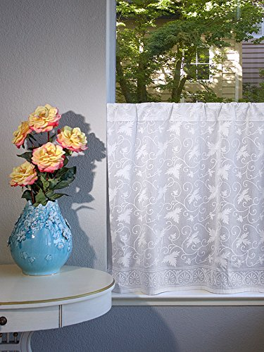 """Saffron Marigold – Ivy Lace – Handprint Cafe Kitchen Curtains - Country Cottage Curtains – Voile Sheer White Curtains – (46"""" x 36"""")"""
