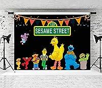 セサミストリートパーティーの装飾子供の誕生日の背景背景写真の背景子供の誕生日の写真ブースの小道具ウェディングフェスティバルテーマパーティー新生児の写真撮影