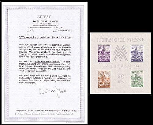 Goldhahn SBZ Block 5 YZ a postfrisch mit Fotoattest Dr. Jasch echt und einwandfrei Briefmarken für Sammler