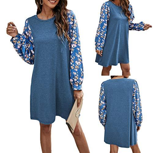 GOUWANVintage Blumenkleid Freizeit Kleider Langärmeliges Kleid Fließendes Kleid Langarm Minikleid Kleid Damen lose Vintage Party Kleider