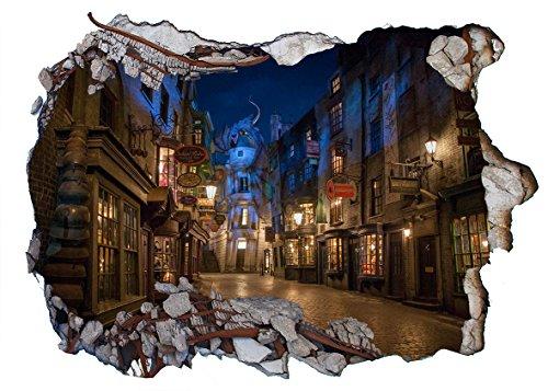 Chicbanners Harry Potter Diagon Alley 3D Wall Smash V203 - Adesivo da parete autoadesivo, dimensioni 1000 mm di larghezza x 600 mm di profondità (grande)