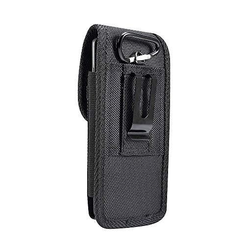 DFV mobile - Nylon Belt Holster with Metal Clip And Card Holder per UMI Umidigi S2 Lite (2018) - Black