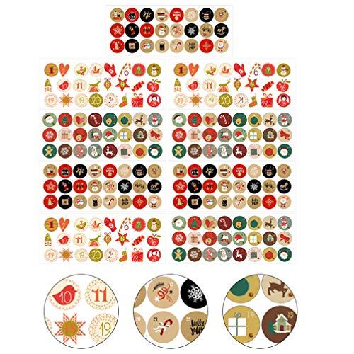 Hakka 24 Pegatinas de números para Calendario de Adviento Clásico, Pegatinas para Crear y Decorar