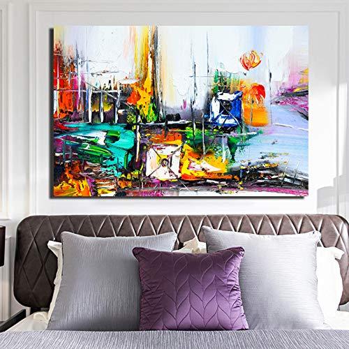 SADHAF modern architectonisch schilderij op canvas schilderij decoratie woonkamer moderne decoratie 40x50cm (senza cornice) A2.