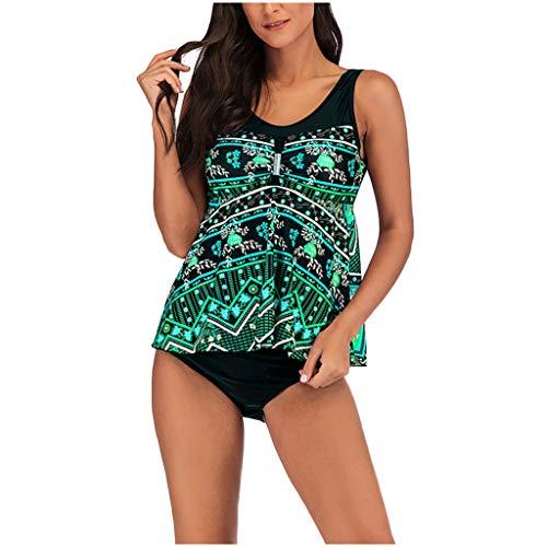 Lazzboy Damen 2pcs Frauen Blumendruck übergröße Bikini Set Sommer Tankini Kleid Badeanzug Beachwear Badeanzüge Strand Badekleider Plus Größe Badebekleidungs(Grün,2XL)