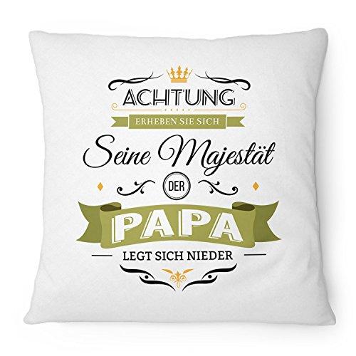 Fashionalarm Kissen Seine Majestät der Papa - 40x40 cm mit Füllung | Lustige Geschenk Idee für Väter Geburtstag Vatertag Geburt Baby Kind Spruch, Farbe:weiß