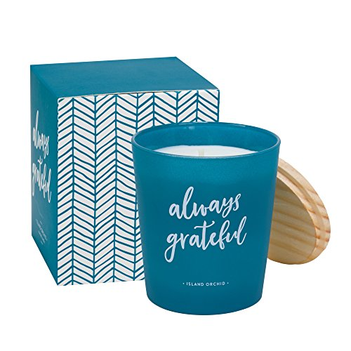 Eccolo Island Orchid Scented Candle, Always Grateful Quote, Matching Gift Box - Made in Spain 7.5 Oz