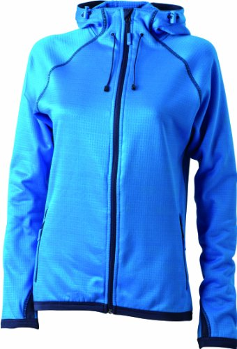 James & Nicholson Damen Jacke Fleecejacke Ladies' Hooded blau (aqua/navy) Large