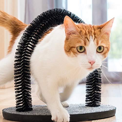 Kattklösbåge med mjuka, bekväma borstar, för massage och självvård av katter och kattungar, söt, lyxig leksak med kattmun
