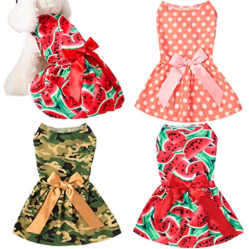 3 Pieces Cute Ribbon Dog Dress for Small Medium Dogs Puppy Shirts Dog Clothes Pet Apparel for Cats in Wedding Holiday Christmas New Year Spring Summer (Dot, Camouflage, Watermelon,S)