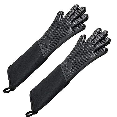 EFAGL Extra Long Professional Silicone Oven Mitts with Quilted Liner, Heat Resistant Oven Gloves,1 Pair