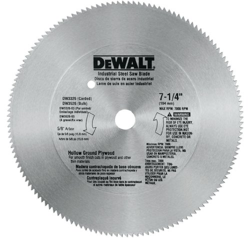 DEWALT DW3326 7-1/4-Inch 140 Tooth Hollow Ground Plywood Cutting Saw Blade with 5/8-Inch and Diamond Knockout Arbor