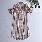 STJDM Bata de Noche,Imprimir Ropa de Dormir para Mujer camisón de Seda Vestido de Noche camisón Ropa de habitación Vestido de Noche de Verano L fenzhu