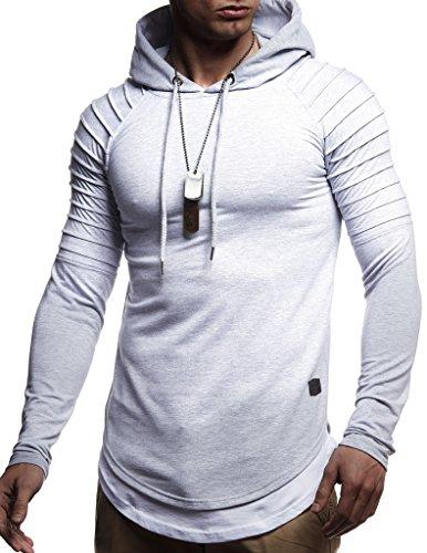 Leif Nelson Herren Kapuzenpullover Slim Fit Baumwolle-Anteil Moderner weißer Herren Hoodie-Sweatshirt-Pulli Langarm Herren schwarzer Pullover-Shirt mit Kapuze LN8155 Grau Medium