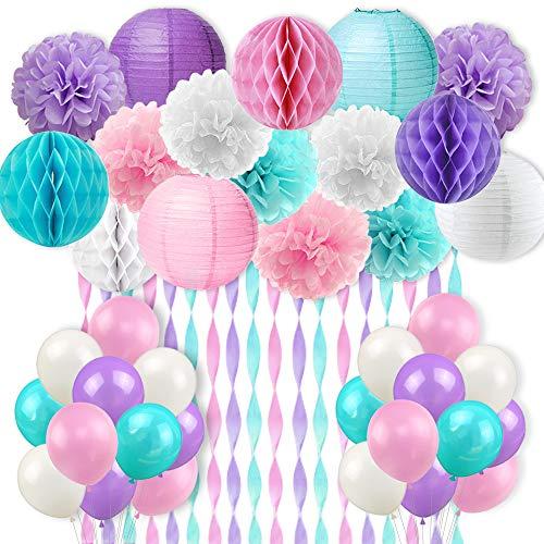 Meerjungfrau und Licone Farbe Party Decor, Krepppapier Ballons Pompons Papierlaterne Pink Grün Lila Weiß, Geburtstag Zubehör für Mädchen, Hochzeit und pränatale Party