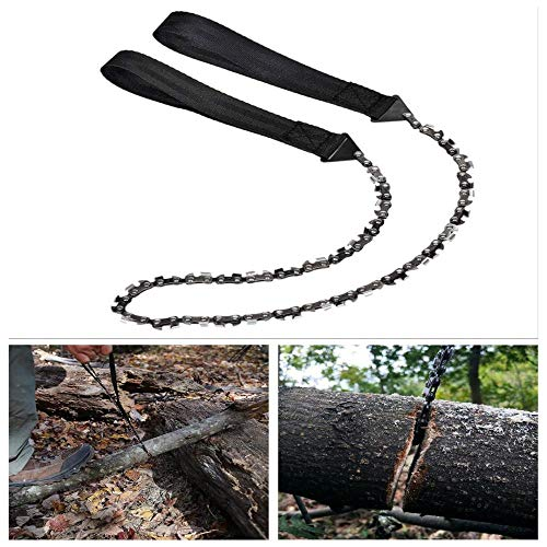 Pocket Hand Chain Saw - Portable Pocket Chainsaw (25.6inch-11teeth),Folding Chain Hand Saw Fast Wood - Tree Cutting,Emergency Outdoor Survival Gear,Best for Camping Backpacking Hiking Hunting