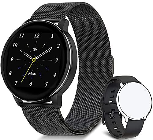 """JINPXI Reloj Inteligente para Hombre y Mujer 1.3""""con Frecuencia Cardíaca Oxígeno Sanguíneo Presión Arterial,Pulsómetro,Cronómetros, Monitor de Sueño,Smartwatch Reloj Deportivo para Android iOS"""