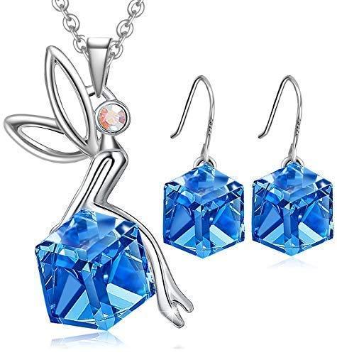 Set de joyería Hada swarovski Cristal Colgante corazón ,Collar de mujeres, Pendientes...