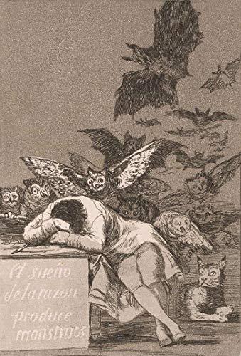 O Sono da Razão Produz Monstros (1799) de Francisco de Goya - 50x73 - Tela Canvas Para Quadro