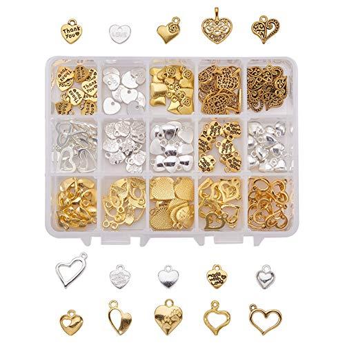 Juego de 150 colgantes con forma de corazón con caja de almacenamiento transparente – para bisutería/collar/pulsera/colgantes/abalorios de bricolaje, 15 estilos de oro/plata mezclados